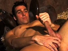 Horny innocent farmboy Dylan plays anent his massive rigid sausage