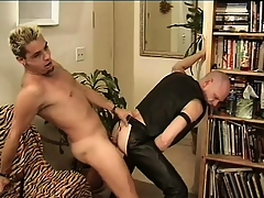 Leather-loving baldhead Babaji impales his ass on Mean Dean's tumbledown tease