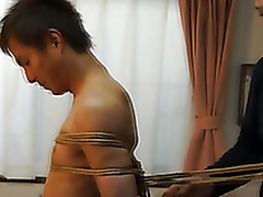 Japanese stud gets confined up kinbaku refresh off out of one's mind gay amateur