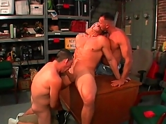 Unconcerned bear blowjob threesome give the garage