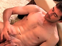 Sexy beard on solo guy jerking off his cock