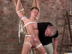 Old guy gives bound boy a sexy handjob
