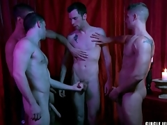 Four guys cum on the subservient in circle jerk