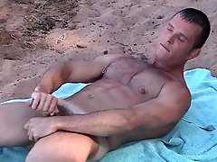 Pierced nipple uncaring guy jerks lacking on the beach