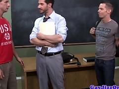 Crammer gets bukkake from student jocks after spitroasting in category