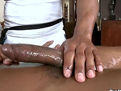 Black shine gets his horn-mad rod rubbed and stroked
