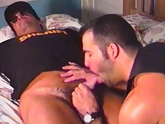 Handsome gay biker exchanges vocalized pleasures beside the concupiscent sheriff