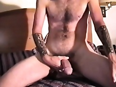 Pretty amateur hunk reveals his tight ass together with strokes his long dick