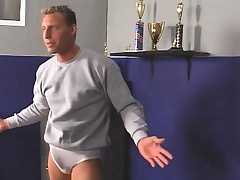 Torrid swimming coach wraps his erotic lips around a young stud's dick